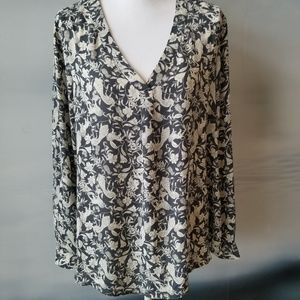 Elegant Rose & Olive silky print office blouse